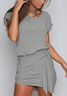 Available Sizes :S;M;L;XL Bust(cm) :S:84cm; M:88cm; L:92cm; XL:96cm Waist(cm) :S:64cm; M:69cm; L:74cm; XL:80cm Type :Loose Material :Cotton Color :Grey Decoration :Irregular Pattern :Plain Collar :Collarless Length Style :Above Knee Sleeve Length :Short Sleeve