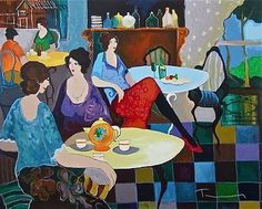 Afternoon Tea, Ltd Ed Silk-screen, Itzhak Tarkay – Art Commerce