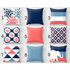 Throw Pillow Cover Navy Stone Coral White Pillow Cover Couch Cushion... ($25) ❤ liked on Polyvore featuring home, home decor, throw pillows, decorative pillows, grey, home & living, home décor, navy blue throw pillows, outdoor accent pillows and navy throw pillows