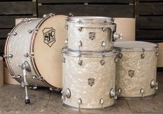 Aged white pearl wrapped mahogany kit w/ weathered chrome hardware from @sjcdrums for @colinphillips66 9x13, 16x16, 16x18 and 15x24. Beautiful work! Lucky drummer. #DrumSmart #SJCdrums #CustomDrums #drum #drums #drumset #drumkit #drumming #drummer...