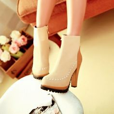 USD21.99Fashion Spring Autumn Round Toe Ankle Martens Cream-colored PU Short Boots