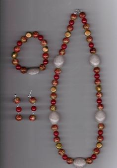 Reddish Brown and Tan Handmade Arcylic Bead Necklace Set