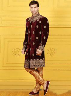 Maroon Velvet Chipkan Style Sherwani 88135