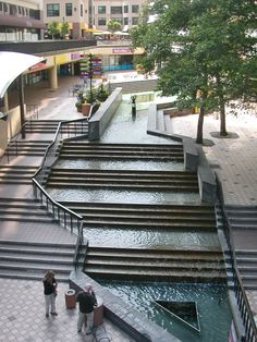 Oakland City Center's lower level walkway and water feature in Oakland, CA - photo by Fhelsing, via fotothing