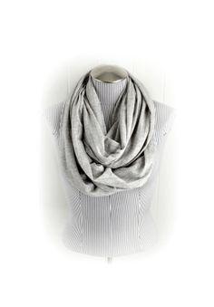 Light Gray Infinity Scarf Sheer Knit Suble by VintageDutchGirl, $20.00