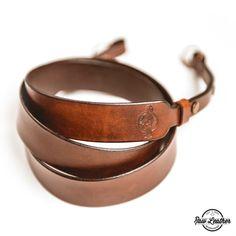 Leather camera strap  Brown  Skórzany pasek do aparatu – brązowy – Raw Leather
