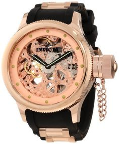 Men's Wrist Watches - Invicta Mens 1244 Russian Diver Quinotaur Mechanical Rose Gold Tone Skeleton Dial Watch *** For more information, visit image link. (This is an Amazon affiliate link)