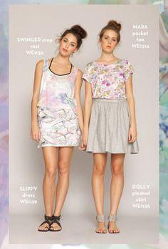 Swinger Crop Vest, Slippy Dress, Mara Pocket Tee, Dolly Pleated Skirt. SHOP www.whitneyeve.com