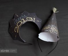 Printable DIY New Year's Eve Paper Hats