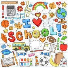 enfants ecole: J'aime l'école Doodles classe portables Accessoires tiré par la main des éléments de conception Illustration sur fond Sketchbook papier ligné