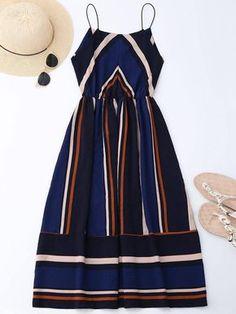 Multi Stripe Midi Sundress Summer Women Dresses 2018 Bohemian Spaghetti Strap Sleeveless Beach Party Dress Vestidos Deep Blue S Summer Dresses For Women, Summer Outfits, Cute Outfits, Dress Summer, Casual Outfits, Style Feminin, Midi Sundress, Look Man, Striped Midi Dress