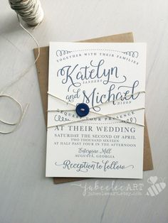 Rustic elegant blue lettered calligraphy invitation with customizable colors, kraft paper printable invitation, printable wedding invitation
