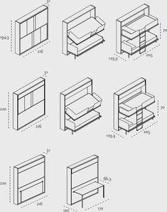 Una soluzione per camere di piccole metrature. Un mobile salvaspazio si converte a letto a castello con scaletta removibile.