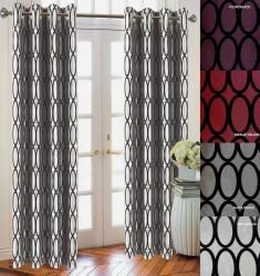 graphic oval design curtains.