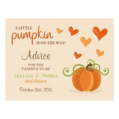 Cute Little Pumpkin Baby Shower Advice Cards