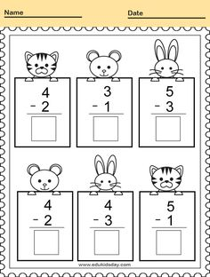 Free Printable Kindergarten Math Worksheets - Practice Adding and Counting  #KindergartenMathWorksheets Subtracting Math Practice Worksheet for Kindergarten #worksheets #printableworksheets #kids #education #kindergarten #worksheetsforkindergarten #freeprintableworksheets