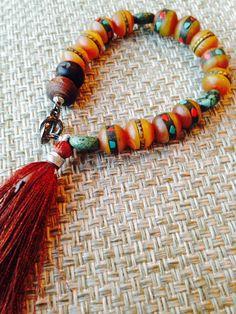 Himalaya Yoga Bracelet with Carved Wood Bead by MessyJewelry