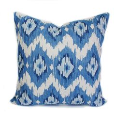 blue pillow 20x20 blue pillow covers ikat pillow blue throw pillows couch cushion sofa cushions decorative pillow toss pillow