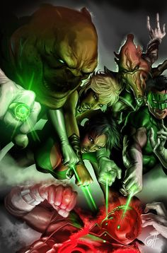 Green Lantern Corps vs Guy Gardner by Greg Horn