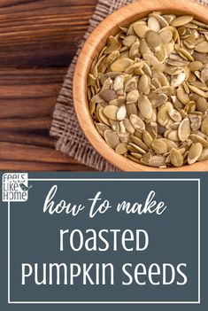 The best simple and easy roasted pumpkin seeds. This sweet and sugary recipe uses butter and cinnamon for the perfect crunchy snack. Seasoned and baked in the oven. How to make and eat unshelled pumpkin seeds. Perfect Pumpkin Seeds, Raw Pumpkin Seeds, Roasted Pumpkin Seeds, Pumpkin Pie Spice, Allergy Free Recipes, Gluten Free Cooking, Healthy Dishes, Food Network Recipes, Food Print