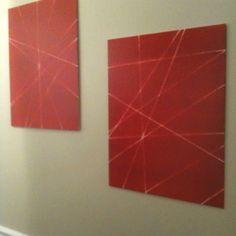 Take yarn and wrap it around a canvas. Spray paint and peel off the yarn. Ta-da! Fun wall art.