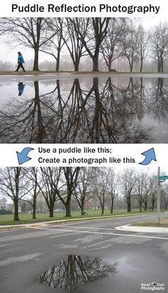 Puddle Reflection Photography: how to | Boost Your Photography Photography Photos, Photography Angles Tips, Photography Composition, Photography Tutorials, Iphone Photography, Reflection Photography, Classic Photography, Photography Cheat Sheets, Photography Projects