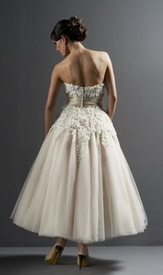 Tea length wedding dress - nthere are a lot of really pretty ideas and structuring to this dress. Used Wedding Dresses, Designer Wedding Dresses, Bridal Dresses, Wedding Gowns, Wedding Day, Ballet Wedding Dresses, Ruffled Dresses, 50s Wedding, Reception Dresses