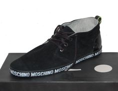 Moschino Men's Black Logo Velour High Top Keds Sneakers Shoes Boots  US 11 EU 44 #Moschino #AnkleBoots