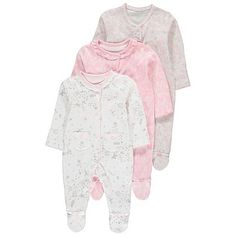 3 Pack Assorted Floral Print Sleepsuits | Baby | George