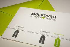 Einladungskarten - Einladungskarte Hochzeit - Zeitstrahl - ein Designerstück von MazetDesign bei DaWanda
