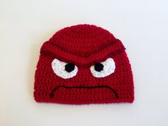 Anger Hat Inside Out Beanie Crochet Halloween by TheCranberryCreek