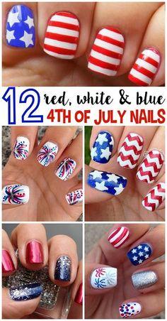 Patriotic Nails, Cute Nail Art, Fun Nails, Easy Nails, How To Do Nails, Pretty Nails, Fourth Of July Nails Easy, July 4th, Nail Art Designs