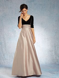 Alfred Angelo Style 7345L: Floor length bridesmaid dress with V-shaped neckline, elbow length sleeves and A-line skirt with side seam pockets