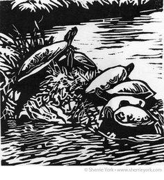 Painted Turtles linocut