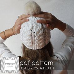 Crochet Pattern - Holden Cable Hat by Lakeside Loops - (includes sizes Baby, Kids, Youth, & Adult)