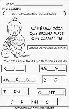 Resultado de imagem para atividades dia das maes maternal Mom Day, Mathematics, Professor, Education, Mix, Gabriel, Mother's Day Activities, Language Activities, Index Cards