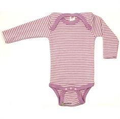 Langærmet body i økologisk uld/silke, lilla strib