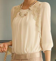 2016 moda Chiffon New Turn down Collar blusa branca marca mulheres Lace solto…