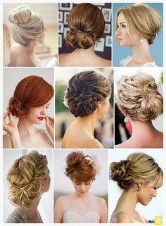 Various ways to wear a bun.  Wedding idea?