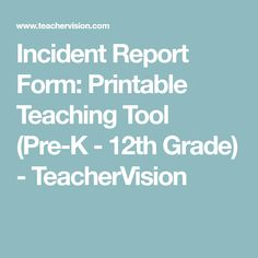 Incident Report Form  Office Forms    Daycare Forms