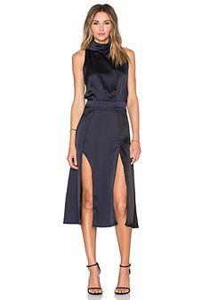 Lavish Alice Colorblocked High Neck Midi Dress in Black & Navy   REVOLVE