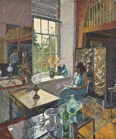 Ken Howard - Dora, Artist & Model, oil on canvas