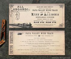 Vintage Train Ticket Invitation DIY PRINTABLE