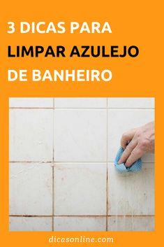 Como limpar azulejo de banheiro: dicas e receita de mistura caseira poderosa para a limpeza #DicasOnline #Dicas #Truques #TruquesCaseiros #Limpeza #Faxina #DonaDeCasa #DicasDeLimpeza #Lavar #Azulejo #Banheiro #AzulejoDeBanheiro #LimparAzulejo #LimparBanheiro Home Health Care, Diy Cleaning Products, Clean Up, Organization Hacks, Tile Floor, Diy And Crafts, Life Hacks, Household, Cleaning Shower Floor
