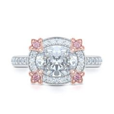 Unique, Nature Inspired Tulip Bloom Oval East-West Halo Engagement Ring.  Handcrafted in Precious Platinum and Romantic Rose Gold. Pink Diamond Accents and Center Stone - GIA Certified Oval Diamond Tailored for Your Budget. Free Shipping USA.  30Day Returns | BASHERT JEWELRY | Boca Raton Florida