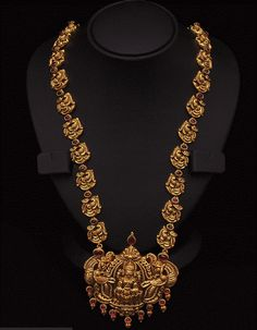 Antique Long Chain with Nakshi Pendant - Indian Jewellery Designs South Jewellery