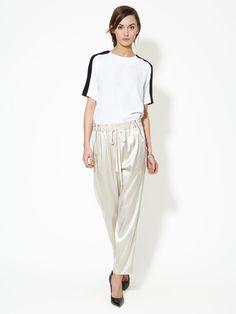Silk Satin Drawstring Tuxedo Pant by 3.1 Phillip Lim up to 60% off at Gilt Tuxedo Pants, Drawstring Pants, Top Stitching, 3.1 Phillip Lim, Silk Satin, Harem Pants, My Style, Model, Tops