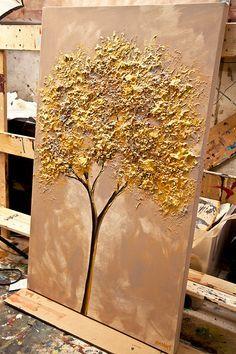 Arbre d'or peinture 40 x 24 texturé paysage peinture