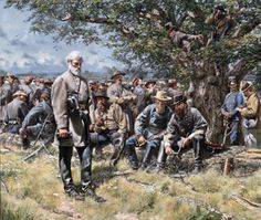 """This is a painting by Robert K. Krick. It is called """"Decisions at Dawn"""". It shows Robert E. Lee with his soldiers and he is taking some time to contemplate the days operations."""