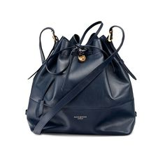 Large Padlock Bucket Bag in Smooth Navy from Aspinal of London